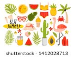 big set of colorful summer... | Shutterstock .eps vector #1412028713