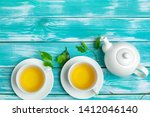 healthy herbal tea over blue...   Shutterstock . vector #1412046140