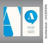 business card vector template ... | Shutterstock .eps vector #141205396