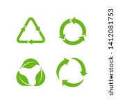 recycle icon vector on white... | Shutterstock .eps vector #1412081753