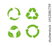 recycle icon vector on white... | Shutterstock .eps vector #1412081759