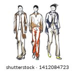 stylish handsome mans in... | Shutterstock .eps vector #1412084723