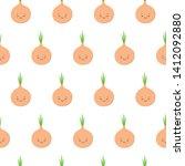 cute kawaii bulbs of onions... | Shutterstock .eps vector #1412092880