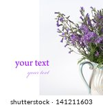 blue flower on a white... | Shutterstock . vector #141211603
