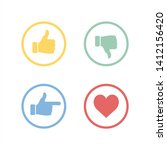 thumbs up and down  heart signs.... | Shutterstock .eps vector #1412156420