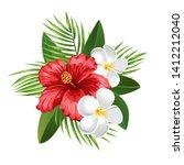 summer flowers. hibiscus and... | Shutterstock .eps vector #1412212040