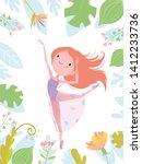 summer flyer with a cute girl...   Shutterstock .eps vector #1412233736