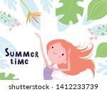 summer flyer with a cute girl...   Shutterstock .eps vector #1412233739