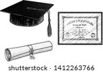 graduation hat  degree ... | Shutterstock .eps vector #1412263766