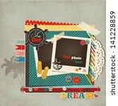 scrap marine template card for...   Shutterstock .eps vector #141228859