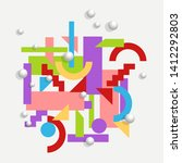 geometric background in cubism... | Shutterstock .eps vector #1412292803