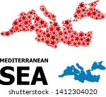 red star mosaic and solid map...   Shutterstock .eps vector #1412304020