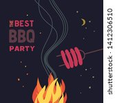 bbq grilled sausages flat hand... | Shutterstock .eps vector #1412306510