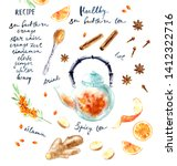 hand drawn hot drink recipe... | Shutterstock . vector #1412322716