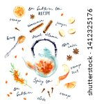 hand drawn hot drink recipe... | Shutterstock . vector #1412325176