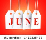 june text on white hanging... | Shutterstock . vector #1412335436