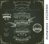 hand drawn banners and ribbons... | Shutterstock .eps vector #141234364