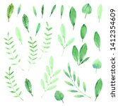 hand drawn watercolor leaves.... | Shutterstock . vector #1412354609