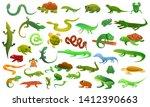 Reptiles Amphibians Icons Set....