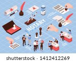 isometric notary services...   Shutterstock .eps vector #1412412269