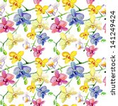 Seamless Floral Pattern Orchids