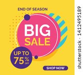 big sale banner on yellow... | Shutterstock .eps vector #1412495189