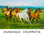 Stock photo seven running horses on decorative texture background canvas oil painting d wallpaper multicolor 1412496716