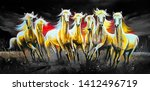 Stock photo white seven running horses on decorative texture background canvas oil painting d wallpaper 1412496719