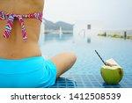 back of woman wearing two...   Shutterstock . vector #1412508539