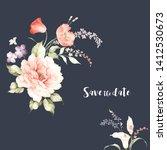 beautiful watercolor flowers...   Shutterstock . vector #1412530673