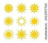 yellow suns glow vector... | Shutterstock .eps vector #1412557763