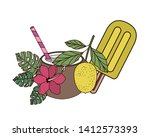 ice cream of tropical fruits on ... | Shutterstock .eps vector #1412573393
