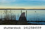 Small photo of landing stage at the lake Plauer See idyllic landscape