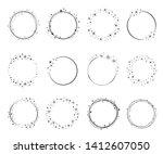 shiny star circle frame set ... | Shutterstock .eps vector #1412607050