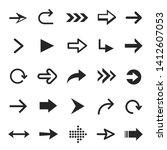 arrow icon set  interface black ... | Shutterstock .eps vector #1412607053