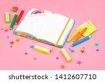 cute kids notebook on pink... | Shutterstock . vector #1412607710