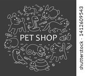 pet shop  types of pets in... | Shutterstock . vector #1412609543