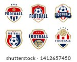 Stock vector set of soccer logo or football club sign badge football logo with shield background vector design 1412657450