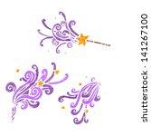 cartoon magic wand casting... | Shutterstock .eps vector #141267100