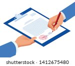 isometric signed a contract... | Shutterstock .eps vector #1412675480