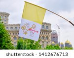 Flag of vatican city on display ...