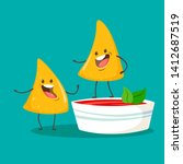 funny chips nachos character... | Shutterstock .eps vector #1412687519