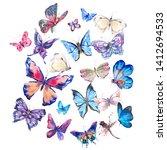 watercolor butterflies vintage... | Shutterstock . vector #1412694533