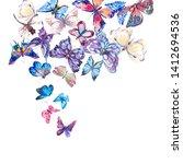 watercolor butterflies vintage... | Shutterstock . vector #1412694536