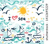 i love the sea. a seamless... | Shutterstock .eps vector #1412695229