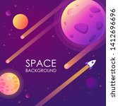 cartoon space banner. vector... | Shutterstock .eps vector #1412696696