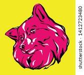 Puppy Dog Head  Vector Pop Art...