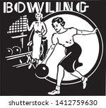 bowling 3   retro ad art banner | Shutterstock .eps vector #1412759630