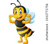 Strong Bee Cartoon. Vector...