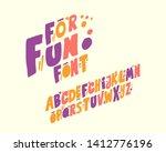 for fun font set design italic... | Shutterstock .eps vector #1412776196